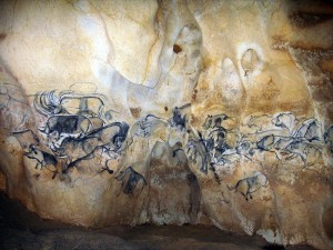 La grande fresque de la salle du fond de la grotte Chauvet © Jean Clottes - Centre national de la Préhistoire